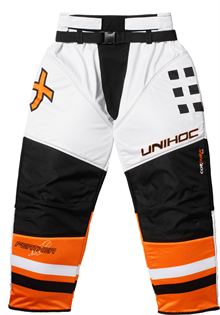 Målmands bukser - Unihoc Feather floorballbukser - hvid/neon orange